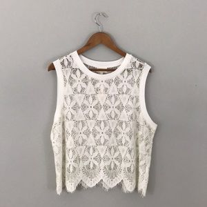 NWT Anthropologie Deletta Scalloped Lace Tank